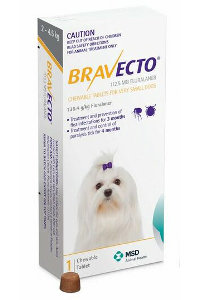 Bravecto for Very Small Dogs 2-4.5kg (Yellow)