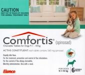 Comfortis for Dogs 9.1-18kg and Cats 5.5-11.2kg 6 pack (Green)