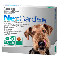 NexGard Flea and Tick Chews for Dogs 10 to 25kg (Green)