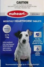 Nuheart Soluble Heartworm Tablets Small Dogs 0-11kg (Blue) 6 pack