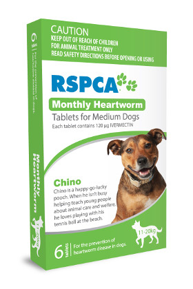 RSPCA Monthly Heartworm Tablets for Medium Dogs (11-20kg, Green) 6 pack