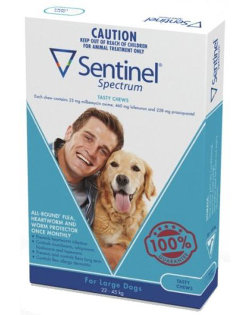 Sentinel Spectrum CHEWS for Dogs 22.5 to 45 kg (Blue)
